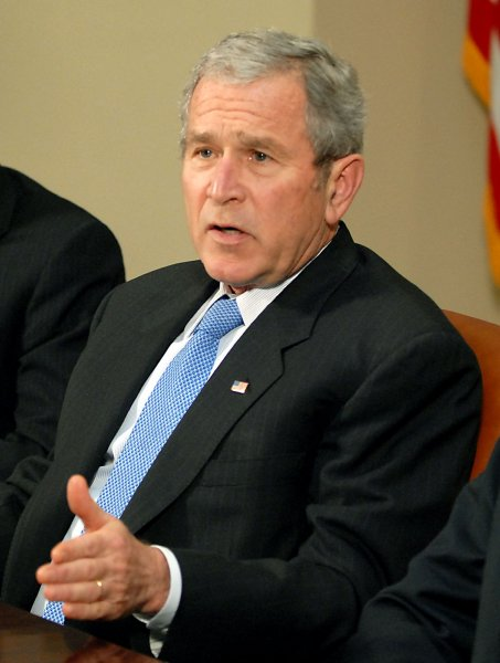 U. S. President George W. Bush speaks to the press after meeting with the President's Working Group on Financial Markets in the Roosevelt Room at the White House in Washington on January 4, 2008. (UPI Photo/Ron Sachs/POOL)