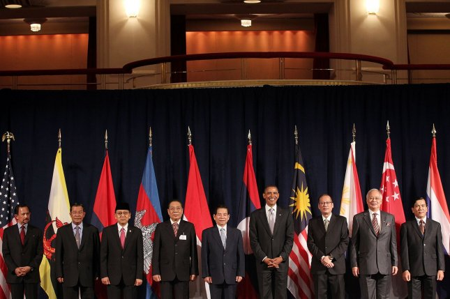 U.S. President Barack Obama (forth from R) attends a working luncheon with ASEAN leaders September 24, 2010, in New York City. Representatives from 10 of the ASEAN member states met with Obama Monday and Tuesday to discuss trade and the South China Sea conflict, among other topics. File Photo by Spencer Platt/UPI