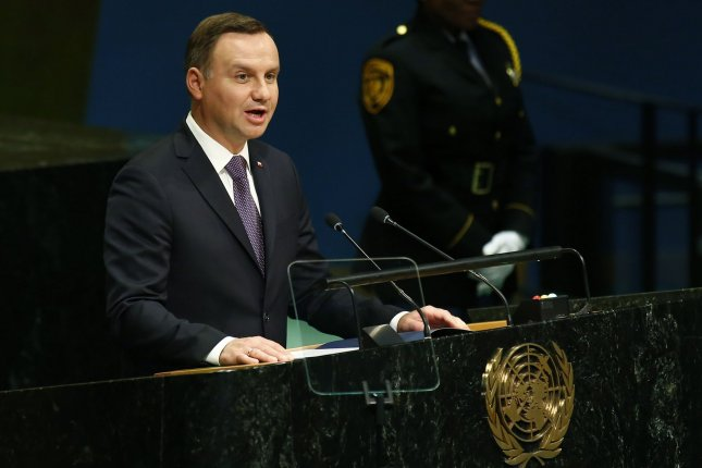 Following weeks of protests, Polish President Andrzej Duda on Monday vetoed two proposed laws -- saying wise reforms to the judiciary are needed. File Photo by Monika Graff/UPI