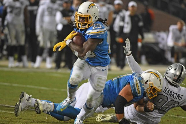 Los Angeles Chargers running back Melvin Gordon III (25) had a season-high 108 yards and a score in Week 10 against the Oakland Raiders. Photo by Terry Schmitt/UPI