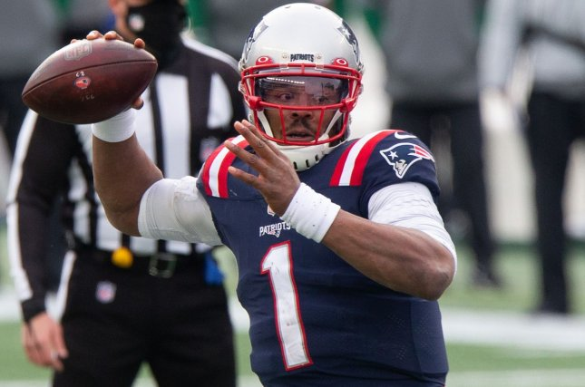 New England Patriots quarterback Cam Newton, shown Jan. 3, 2021, sustained the hand injury about midway through the voluntary organized team activity Friday. He didn't return to the practice session. File Photo by Matthew Healey/UPI