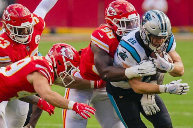 Carolina Panthers running back Christian McCaffrey (R) is my top fantasy football player for 2021, based on his ability to make plays as a runner and a pass catcher. File Photo by Kyle Rivas/UPI