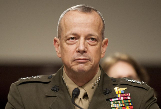 U.S. Gen. John Allen, commander of the International Security Assistance Force and commander of U.S. Forces Afghanistan, is under investigation by the FBI on November 13, 2012 for alleged inappropriate communication with a woman in the middle of the scandal involving CIA Director David Petraeus, who has resigned his position. Allen is shown testifying during a Senate Armed Services Committee hearing on Capitol Hill in Washington, D.C. on March 22, 2012. UPI/Kevin Dietsch/Files