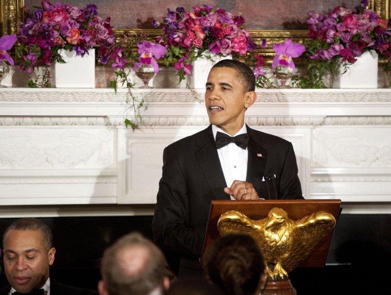 U.S. President Barack Obama speaks at the Governors Dinner at the White House Feb. 27, 2011. UPI/Joshua Roberts/POOL