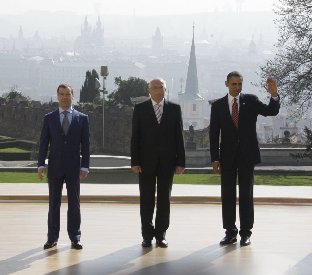 (L-R) Russian President Dmitry Medvedev, Czech Republic President Vaclav Klaus and U.S. President Barack Obama pose for a group photo prior to the signing new START treaty in Prague on April 8, 2010. UPI Photo/Alex Natin.