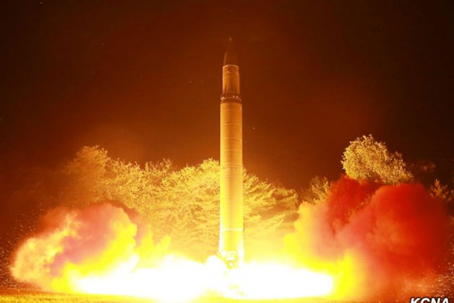 This image released by North Korea's official news service, KCNA, shows the launch of the Intercontinental ballistic missile Hwasong-14 during its second test-fire on August 8. Image courtesy of KCNA/UPI