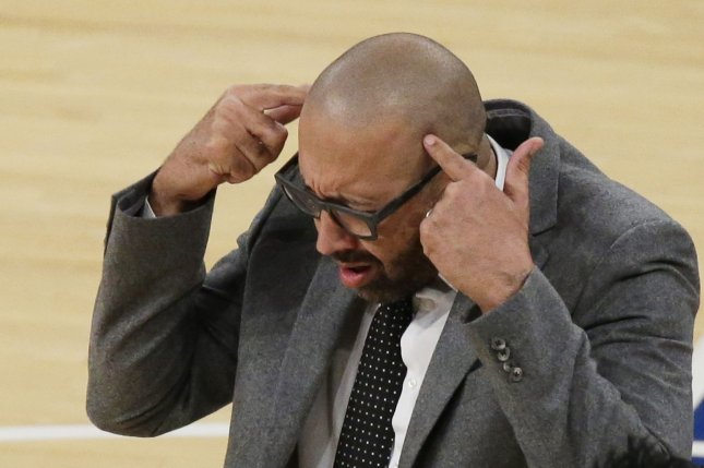 New York Knicks head coach David Fizdale reacts after a play in the 4th quarter against the Indiana Pacers on October 31 at Madison Square Garden in New York City. Photo by John Angelillo/UPI