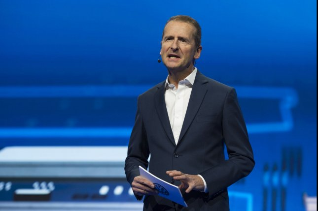 Volkswagen CEO Herbert Diess speaks ahead of the International CES trade show in Las Vegas, Nevada, on January 5, 2016. File Photo by Molly Riley/UPI