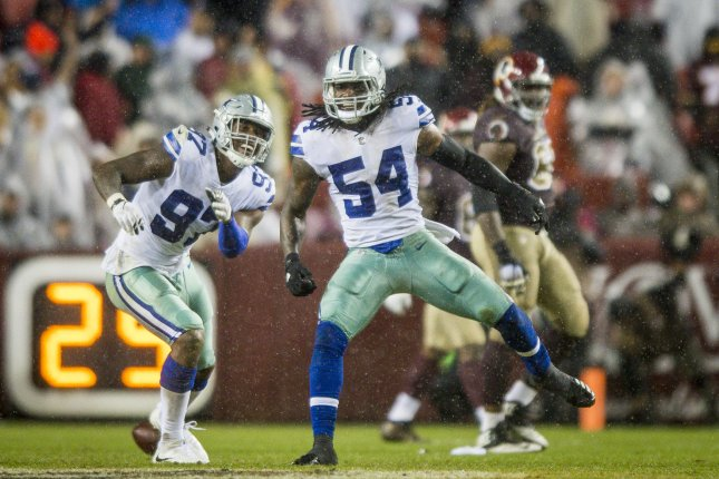 Dallas Cowboys defensive end Taco Charlton (L) demanded his release from the team earlier this week. File Photo by Pete Marovich/UPI
