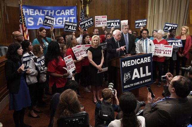 Vermont Sen. Bernie Sanders announces his Medicare for All Act of 2019 at the U.S. Capitol on April 10. File Photo by Mike Theiler/UPI