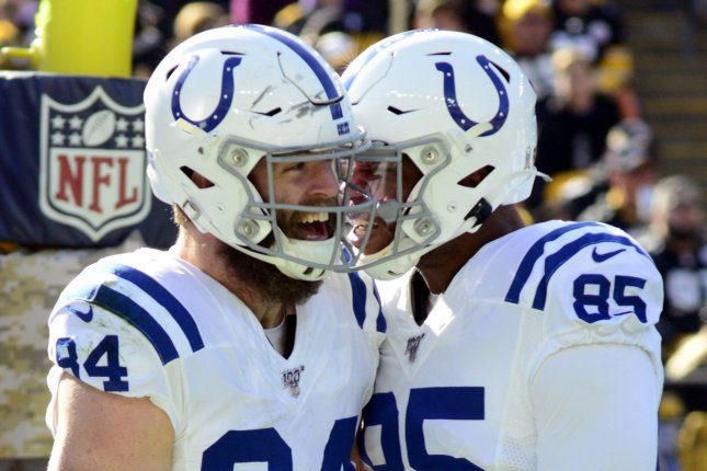 Indianapolis Colts tight end Jack Doyle (L) has recorded 36 receptions for 377 yards and four touchdowns this season. File Photo by Archie Carpenter/UPI