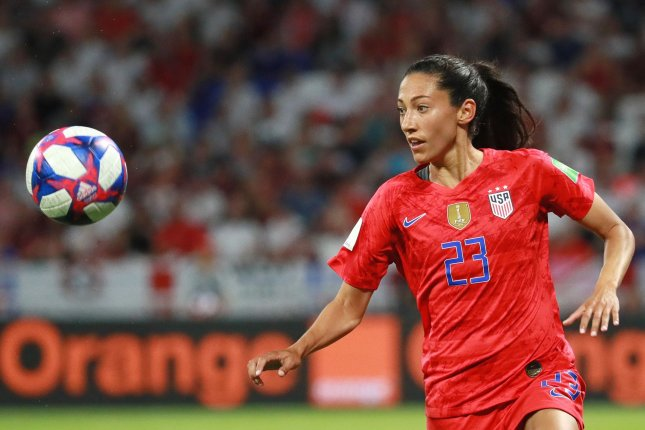 Star striker Christen Press had two goals and an assist in the United States Women's National Teams win against Costa Rica Monday in Houston. File Photo by David Silpa/UPI