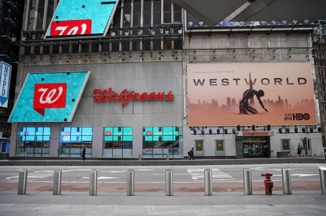A Walgreens location is seen in Times Square in New York City on May 11. File Photo by John Angelillo/UPI
