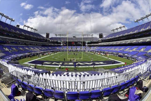 The field is devoid of fans before an NFL season opener game between the Baltimore Ravens and the Cleveland Browns at M&T Bank Stadium in Baltimore on Sunday. Photo by David Tulis/UPI