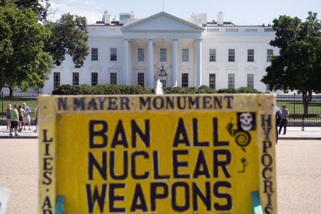 The White House is seen with the White House Peace Vigil, opposing nuclear weapons, in the foreground the day President Barack Obama announced a historic nuclear agreement with Iran, on July 14, 2015 in Washington, D.C. In response to the Iran deal, North Korea is maintaining its stance as a nuclear state, according to analysts. Photo by Kevin Dietsch/UPI