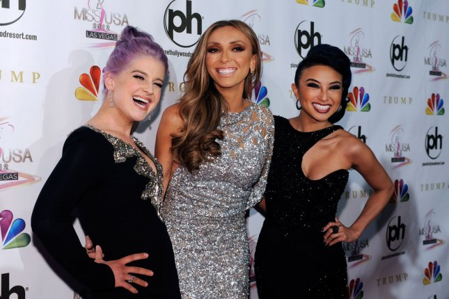 Television personalities from left, Kelly Osbourne, Giuliana Rancic and Jeannie Mai arrive at the 2012 Miss USA competition at the Planet Hollywood Resort and Casino in Las Vegas, Nevada on June 3, 2012. File Photo by UPI/David Becker