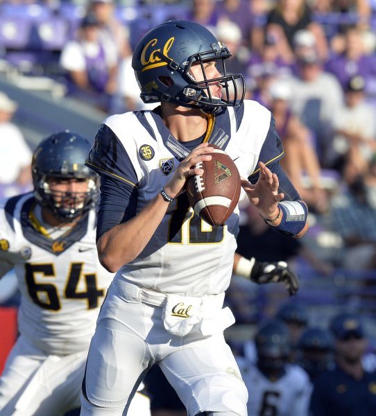 California quarterback Jared Goff drops back to pass during the fourth quarter against Northwestern at Ryan Field on August 30, 2014 in Evanston, Illinois. California defeated Northwestern 31-24. UPI/Brian Kersey