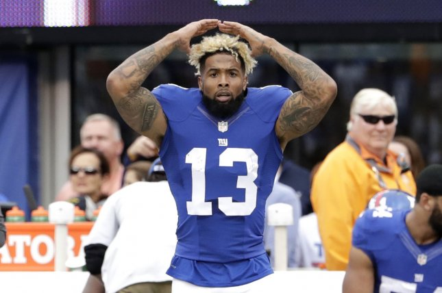 New York Giants Odell Beckham Jr. celebrates after scoring on 75 yard touchdown catch in the 3rd quarter against the Baltimore Ravens in week 6 of the NFL at MetLife Stadium in East Rutherford, New Jersey on October 16, 2016. File photo by John Angelillo/UPI