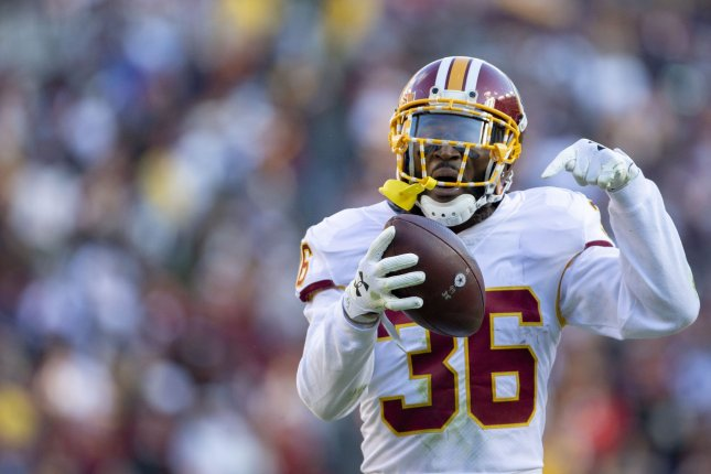 Washington Redskins free safety D.J. Swearinger (36) celebrates his fumble recovery against the Dallas Cowboys in the first half of play on Sunday at FedEx Field in Landover, Md. Photo by Tasos Katopodis/UPI