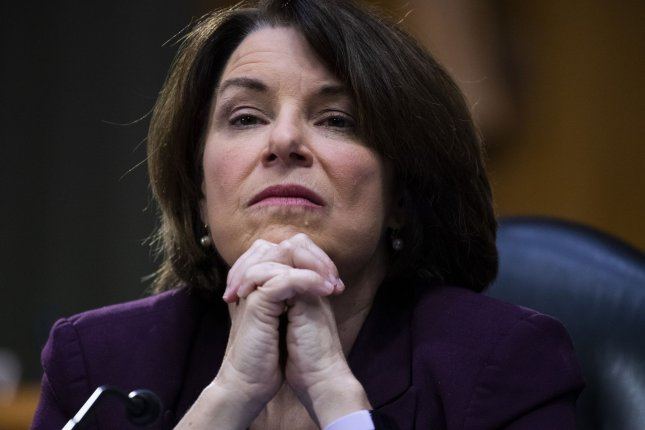 Sen. Amy Klobuchar, D-Minn., said late Thursday she supports former Vice President Joe Biden picking a woman of color as his running mate. Pool Photo by Tom Williams/UPI