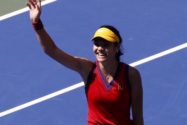 Emma Raducanu of Great Britain celebrates after defeating Belinda Bencic of Switzerland in straight sets during the quarterfinals of the 2021 U.S. Open Tennis Championships on Wednesday inside Arthur Ashe Stadium at the USTA Billie Jean King National Tennis Center in New York City. Photo by John Angelillo/UPI