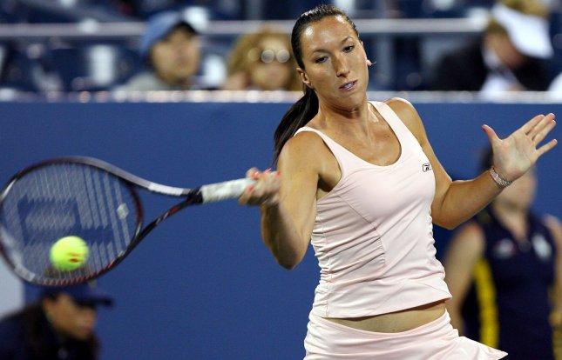 Jelena Jankovic hits a forehand in her match against Sybille Bammer on day 7 at the U.S. Open in New York City on September 2, 2007. (UPI Photo/John Angelillo) .