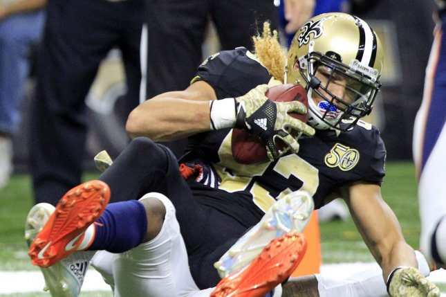 New Orleans Saints wide receiver Willie Snead (83) pulls in a 5 yard Drew Brees pass for a touchdown in front of Denver Broncos cornerback Bradley Roby (29) in the third quarter at the Mercedes-Benz Superdome in New Orleans November 13, 2016. Photo by AJ Sisco/UPI