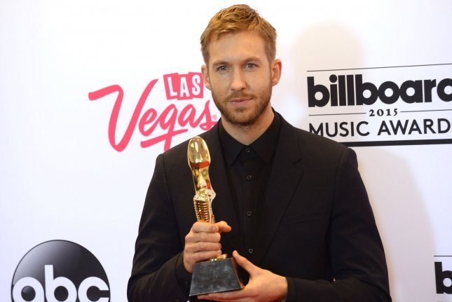 Calvin Harris poses backstage with the award for Top Dance/Electronic Artist during the Billboard Music Awards in 2015. File Photo by Jim Ruymen/UPI