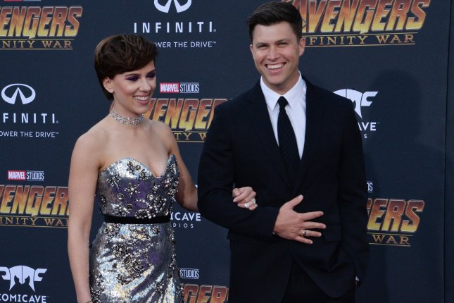 Colin Jost, right, seen here with Scarlett Johansson at the premiere of Avengers: Infinity Wars on Monday, will host the Emmy Awards with Michael Che. Photo by Jim Ruymen/UPI.