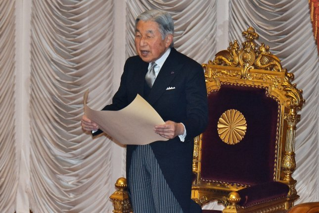 Japan's Emperor Akihito, 85, will abdicate and be replaced the following day by his 59-year-old son. File Photo by Keizo Mori/UPI
