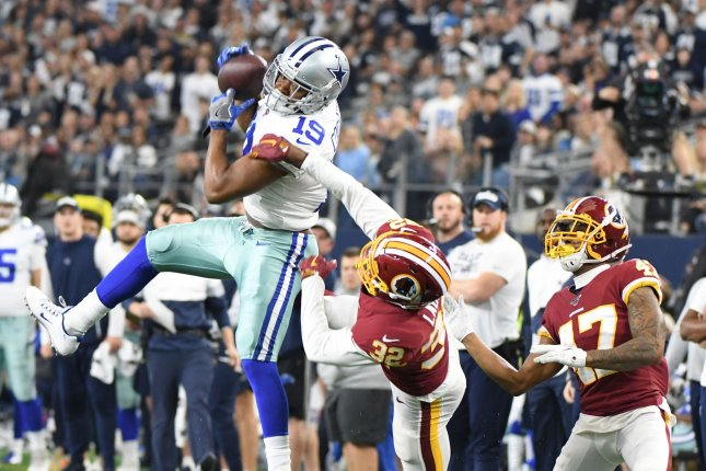 Dallas Cowboys wide receiver Amari Cooper (19) had a career-best 92 catches for 1,114 yards and five touchdowns this season. File Photo by Ian Halperin/UPI