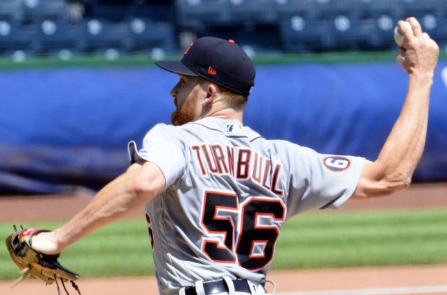 Detroit Tigers starting pitcher Spencer Turnbull threw nine strikeouts and allowed two walks in a no-hit victory over the Seattle Mariners on Tuesday in Seattle. File Photo by Archie Carpenter/UPI