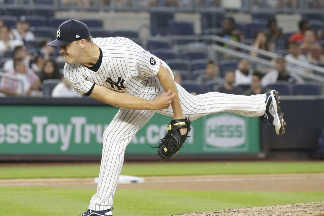 New York Yankees starting pitcher Jameson Taillon, shown July 18, 2021, landed on the 10-day injured list due to a partial tendon tear in his right ankle. File Photo by John Angelillo/UPI