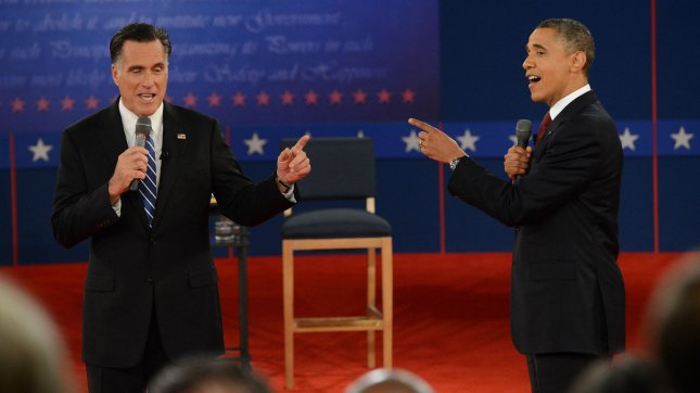 President Obama (R) bested Republican challender Mitt Romney in Monday's final presidential debate on foreign policy at Lynn University in Boca Raton, Fla., as he did last week in the town hall-style debate in Hempstead, N.Y., snap polls indicate. Romney won the first debate in Denver. UPI/Pat Benic