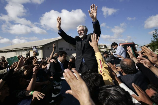 Iranian prime minister Mir-Hossein Mousavi, a leading reformist candidate in the upcoming presidential election, speaks during his campaign tour to Ardebil province, 586 miles (945 Km) northwest of Tehran, Iran on June 1, 2009. Iran's presidential election will take place on June 12. UPI/Hossein Fatemi