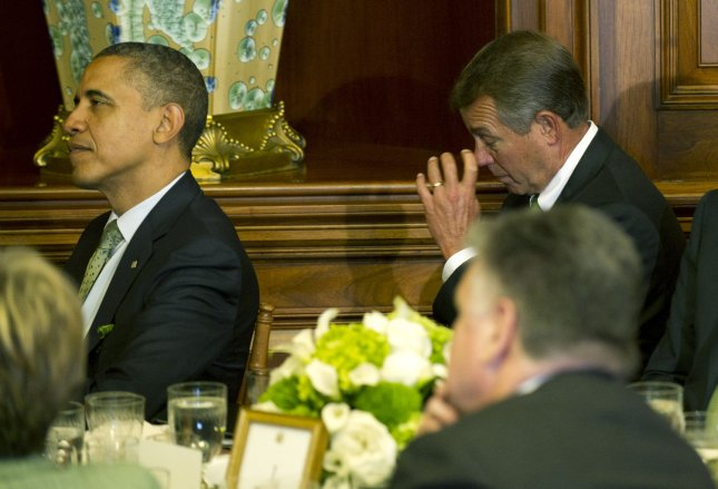 Speaker of the House John Boehner, R-Ohio, (R) and U.S. President Barack Obama (L) attend a luncheon for Irish Prime Minister Enda Kenny in Washington, March 20, 2012. UPI/Kevin Dietsch