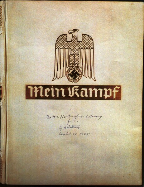 This is a photographic copy of the cover of the deluxe edition of Hitler's Mein Kampf sent by General George Patton to the chairman of the Huntington Library. 1999 image, courtesy of the Huntington Library