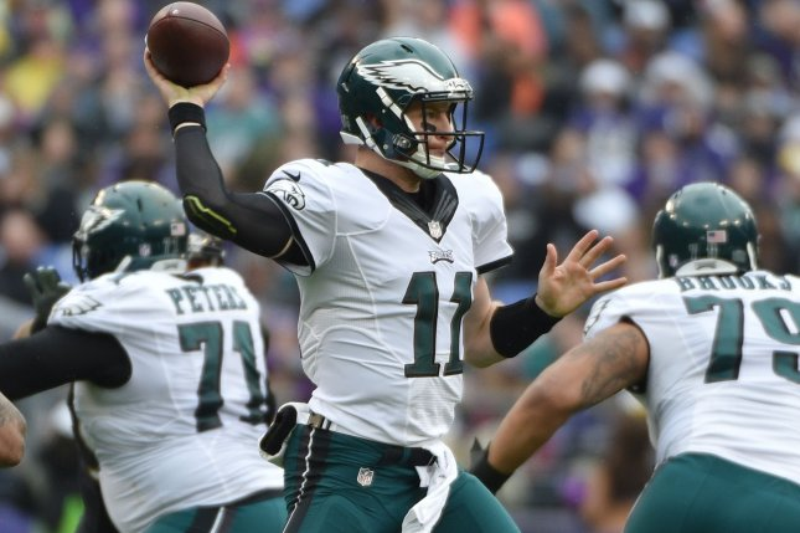 Philadelphia Eagles quarterback Carson Wentz (11). Photo by David Tulis/UPI