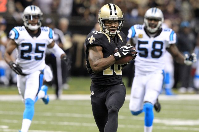 The New England Patriots reportedly offered their No. 32 overall pick in this year's NFL Draft to New Orleans for wide receiver Brandin Cooks (10), but the Saints rejected the proposal. File Photo by AJ Sisco/UPI