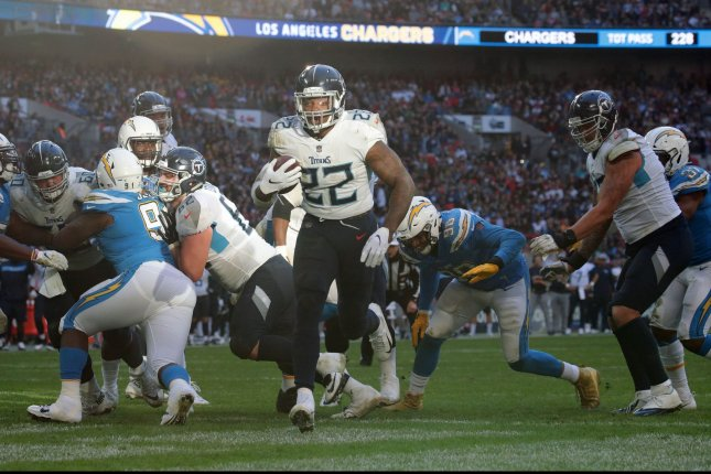 Tennessee Titans running back Derrick Henry scores a touchdown against the Los Angeles Chargers at Wembley Stadium London on October 21. Photo by Hugo Philpott/UPI