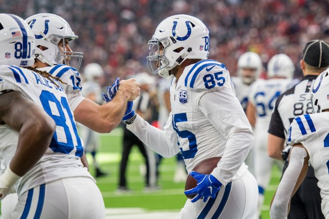 Former Indianapolis Colts tight end Eric Ebron recorded 31 catches for 375 yards and three touchdowns before suffering a season-ending ankle injury. File Photo by Trask Smith/UPI