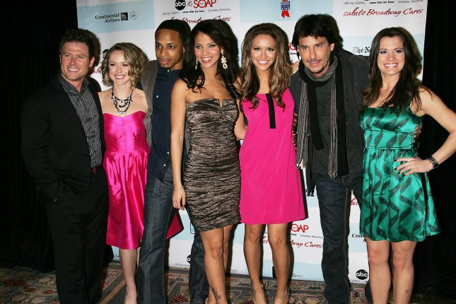 The cast of All My Children (L-R) Jacob Young, Brianne Moncrief, Cornelius Smith Jr., Denise Vasi, Chrishell Stause, Ricky Paull Goldin and Melissa Claire Egan arrive for the 5th Annual ABC and SOAPnet Salute to Broadway Cares/Equity Fights AIDS Benefit Post-Party at the Marriott Marquis Hotel in New York on March 9, 2009. (UPI Photo/Laura Cavanaugh)