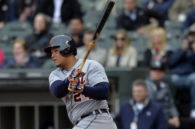 Detroit Tigers' Miguel Cabrera singles during the fourth inning against the Chicago White Sox at U.S. Cellular Field on April 30, 2014 in Chicago. The Tigers defeated the White Sox 5-1. UPI/Brian Kersey