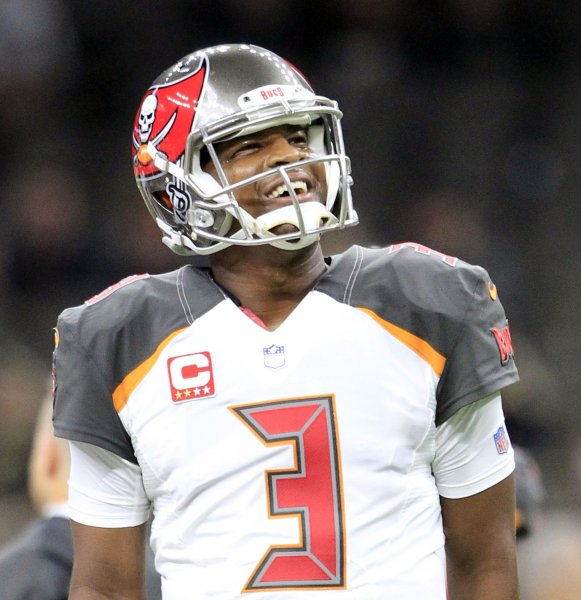 f37bcdfd98d Tampa Bay Buccaneers quarterback Jameis Winston looks up at the scoreboard  before the game against the New Orleans Saints. Photo by AJ Sisco UPI