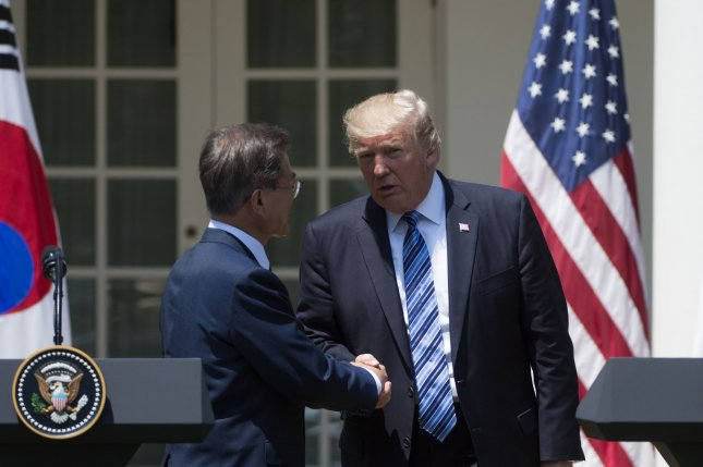 President of South Korea Moon Jae-in and President Donald Trump spoke during a phone call Wednesday. File Photo by Molly Riley/UPI