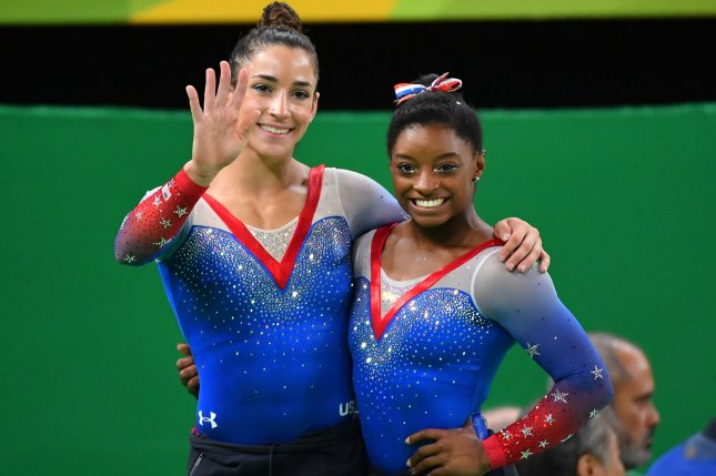 Former teammates and Olympic gymnasts Aly Raisman and Simone Biles both say they were molested by former USA Gymnastics doctor Larry Nassar. Photo by Kevin Dietsch/UPI