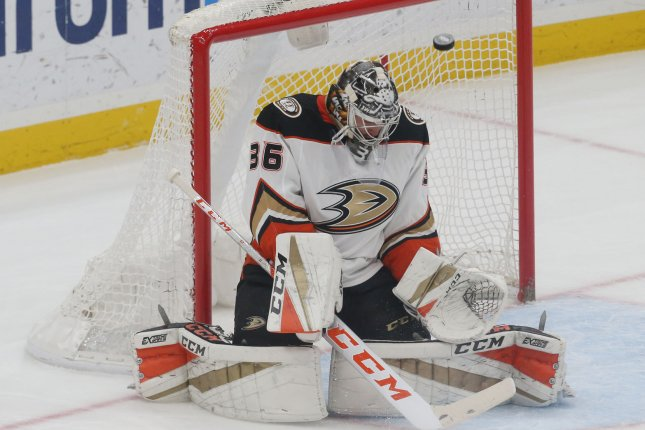 John Gibson and the Anaheim Ducks face off with the Boston Bruins on Thursday. Photo by Bill Greenblatt/UPI