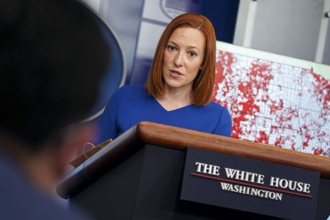 Jen Psaki, White House press secretary, speaks during a news conference in the James S. Brady Press Briefing Room at the White House in Washington, D.C., on Wednesday when she took questions about the treatment of Alexei Navalny. Photo by Leigh Vogel/UPI