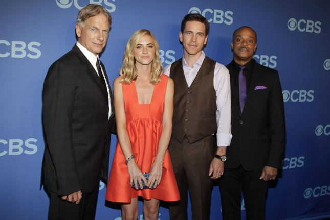 Mark Harmon, Emily Wickersham, Brian Dietzen and Rocky Carroll arrive on the red carpet at the CBS 2014 Upfront Presentation in New York City on May 14, 2014. Their show NCIS has been renewed for a 16th season. File Photo by John Angel/UPI