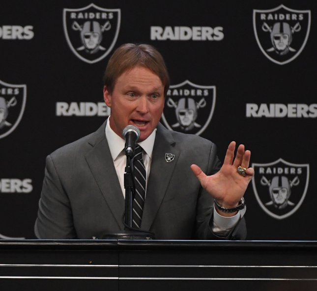 New Oakland Raiders head coach Jon Gruden answers questions during his introductory press conference in January. Photo by Terry Schmitt/UPI